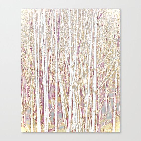 Pastel Paint Birches Canvas Print