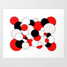 Bubbles - red, black, gray and white. Art Print