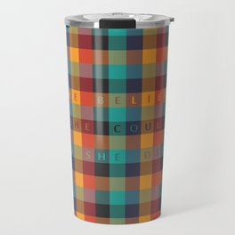 She Believed, She Could, So She Did... Inspirational Quote with Multicolor Mosaic Srt Travel Mug