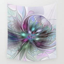 Colorful Fantasy Abstract Modern Fractal Flower Wall Tapestry