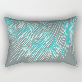 feathered lines in teal Rectangular Pillow