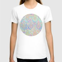 deco T-shirts featuring Jade & Blue Enamel Art Deco Pattern by micklyn