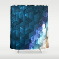 dna Shower Curtains featuring DNA Cube by Tony Vazquez