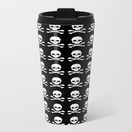 Skull and XBones in Black and White Travel Mug