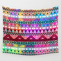 stickers Wall Tapestries featuring  Neon Aztec | Purple Pink Neon Bright Andes Abstract Pattern by Girly Trend