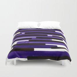 Purple Primitive Stripes Mid Century Modern Minimalist Watercolor Gouache Painting Colorful Stripes Duvet Cover