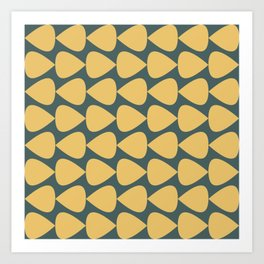 Plectrum Pattern in Mustard Yellow and Teal  Art Print