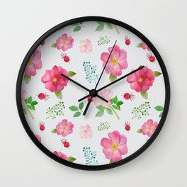 Rosehip Spring Garden Floral Pattern Wall Clock