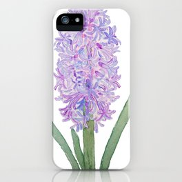 purple pink hyacinth watercolor iPhone Case