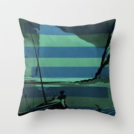 Gaspe Quebec Sailboat Vintage Advertising Collage Throw Pillow