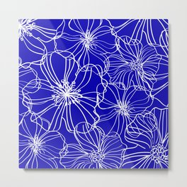 Flower Drawing, Blue and White Metal Print