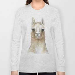Llama Watercolor Painting Long Sleeve T-shirt