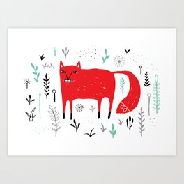 Springtime Fox Art Print