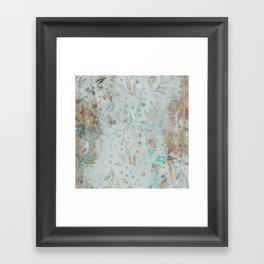 Pastel Botanical Watercolor Pattern Teal Gold Glitter Framed Art Print