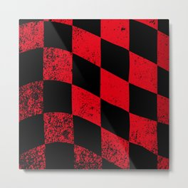Red Dirty Chequered Flag Metal Print