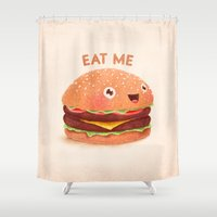 burger Shower Curtains featuring Burger by Lime