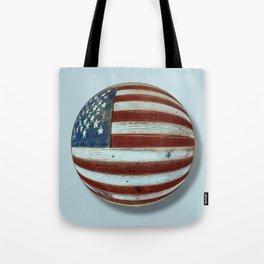 American Flag Wood Orb Tote Bag