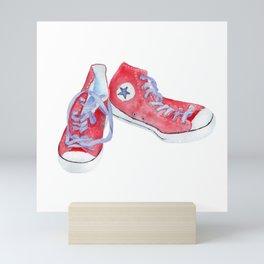 Red sneakers Mini Art Print