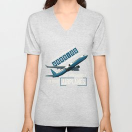 Warning Airplanes Unisex V-Neck