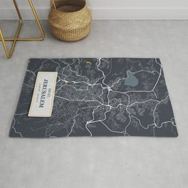 Jerusalem Israel City Map with GPS Coordinates Rug