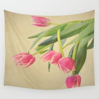 tulips Wall Tapestries featuring Tulips by Rachel Burbee