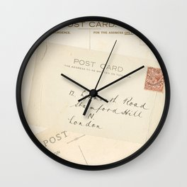 Retro post card  with address and stamp Wall Clock