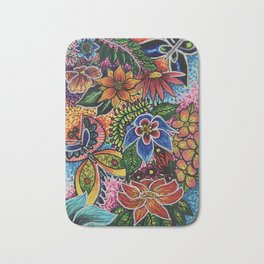 Psychedelic Flowers Bath Mat