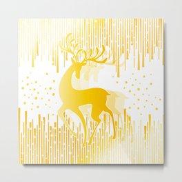 Dancing Deer  - Golden Metal Print
