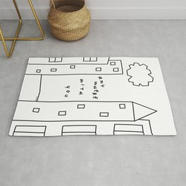 New York, Paris, Anywhere With You - City Landscape Illustration Humor Quote Love Rug