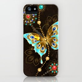 Brown Background with Turquoise Butterfly iPhone Case