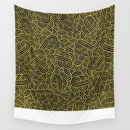 Black and faux gold swirls doodles Wall Tapestry