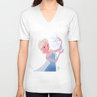 frozen elsa V-neck T-shirts featuring Elsa Frozen by pecamoDESIGN