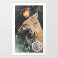 kitsune Art Prints featuring Kitsune by OhhMika the Fox King