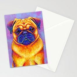 Colorful Rainbow Pug Portrait Stationery Cards