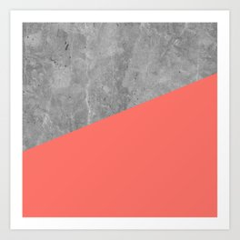 Living Coral on Concrete Geometrical Art Print