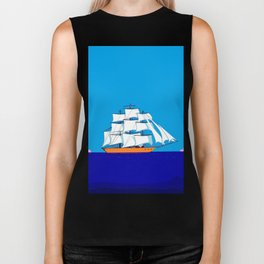 A Clipper Ship at Sunset, Pink clouds and Sun, Nautical Scene Biker Tank