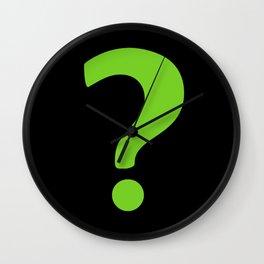 Enigma - green question mark Wall Clock