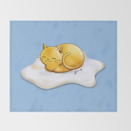 Sunny-side Up Cat Throw Blanket