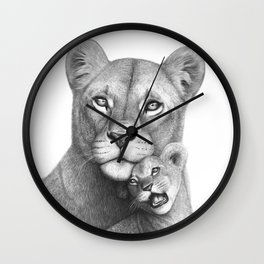 Lioness with a baby Wall Clock