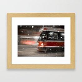 Snowy Night on Gerrard Street East, Toronto Framed Art Print