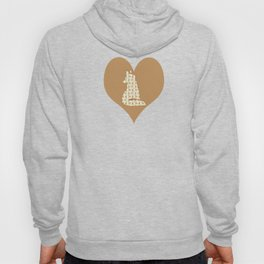 Adorable Fox Friends, Animal Pattern in Nature Colors of Grey and Brown with Paw Prints Hoody