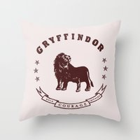 gryffindor Throw Pillows featuring Gryffindor House by Shelby Ticsay