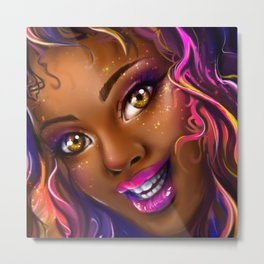 smiling colorful black island girl Metal Print