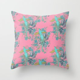 French Folk - vintage phoenix bird and roses navy turquoise on pink Throw Pillow
