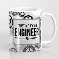 engineer Mugs featuring Trust Me Engineer Quote by EnvyArt