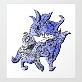 barco de papel Art Print