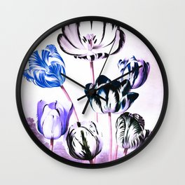 Blue Purple Teal Tulips : Temple of Flora Wall Clock
