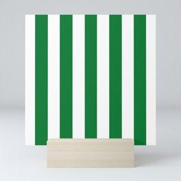 La Salle green - solid color - white vertical lines pattern Mini Art Print