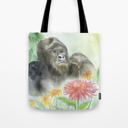 Gorilla in the Flowers Watercolor Tote Bag