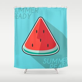 Flat Design of Watermelon Welcoming The Summer Shower Curtain